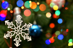 Holiday Wood  Decoration On Christmas Bokeh Blur Background. For Your Christmas Card Or Poster Royalty Free Stock Photography