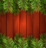 Holiday Wooden Background with Fir Branches. Illustration Holiday Wooden Background with Fir Branches, Copy Space for Your Text - Vector Royalty Free Stock Images