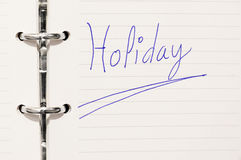 Holiday word on organizer Stock Photo
