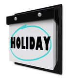 Holiday Word on Wall Calendar Stock Images