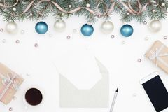 Holiday workplace, gifts, decorations, greeting cards Royalty Free Stock Images