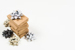 Holiday wrapped gifts with bows Royalty Free Stock Image