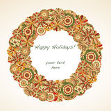 Holiday Wreath. Retro flowers make up holiday wreath, room for text in center Stock Images