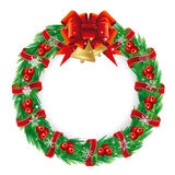 Holiday wreath. Pine and berries holiday wreath with a bow Stock Images