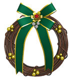 Holiday Wreath with Green Bow Royalty Free Stock Photography