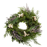 Holiday wreath with lavender. A holiday wreath with greens and lavender flowers Royalty Free Stock Images