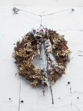 Holiday wreath on the white door Royalty Free Stock Images