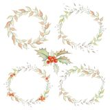Holiday Wreaths and Bouquet Set. Holly bush bouquets, wreaths. Hand drawn watercolors royalty free illustration