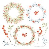 Holiday Wreaths and Elements Set. Holly berries, Branches, Red Berries. Hand drawn watercolor images isolated on white stock illustration