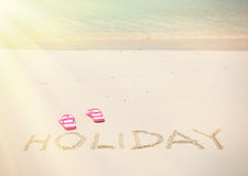 HOLIDAY writing on the beach Royalty Free Stock Image