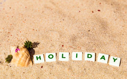Holiday written. In Letters on a yellow, sandy ground with a seashell, a flower and red sparkles Royalty Free Stock Photos