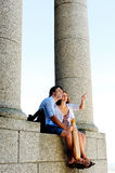 Holidaying couple at ancient monument Stock Image
