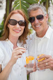 Holidaying couple toasting with cocktails Stock Image