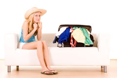 Holidaymaker with full case Royalty Free Stock Photography