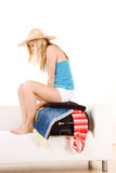 Holidaymaker packing case Royalty Free Stock Photos