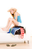 Holidaymaker packing case Stock Image