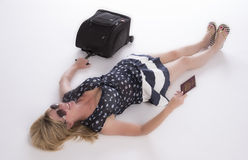 Holidaymaker with passport and luggage Stock Photos