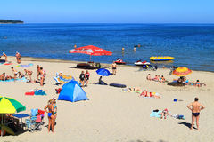 Holidaymakers on the beach of the Baltic Sea in Kulikovo, Kaliningrad region Royalty Free Stock Image