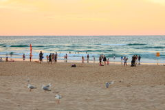 People enjoy sunset scenery at beach stock image