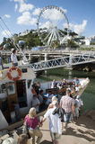 Holidaymakers boarding a ferry in Torquay England UK Stock Photo