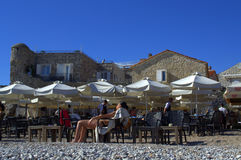 Holidaymakers on Budva beach,Montenegro Stock Photography