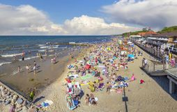 Holidaymakers on the city beach. Zelenogradsk, Kaliningrad region, Russia Stock Images
