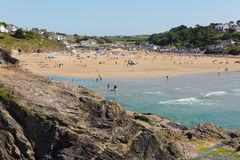 Holidaymakers flock to Polzeath beach Cornwall Royalty Free Stock Images