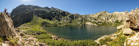 Holidaymakers at Lac de Melo near Corte in Corsica Stock Photos