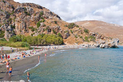 Holidaymakers on the Preveli Beach. Crete, Greece. Royalty Free Stock Image