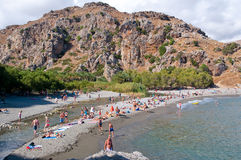 Holidaymakers on the Preveli Beach. Crete in Greece. Royalty Free Stock Photo