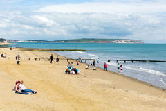 Holidaymakers Shanklin beach Isle of Wight a tourist town on the east coast IOW Royalty Free Stock Photos