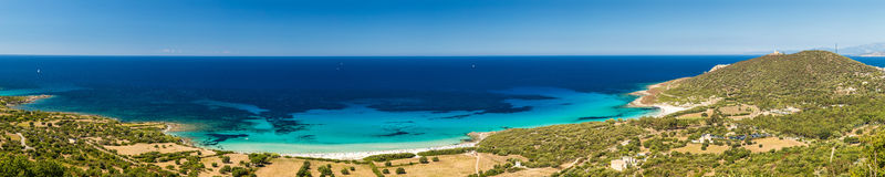 Holidaymakers and turquoise Mediterranean at Bodri beach in Cors Royalty Free Stock Images