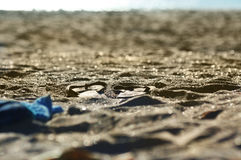 Holidays. Lonely flip-flops on the beach. Holidays time Royalty Free Stock Photography