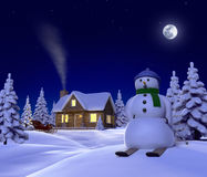 Holidays. A christmas themed snow scene showing Snowman, Cabin and snow sleigh at night Stock Photography