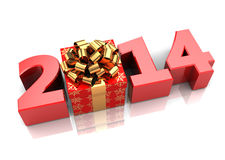 2014 holidays. Abstract 3d illustration of text 2014 with present box, over white background royalty free illustration