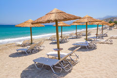 Holidays at Aegean Sea of Crete Stock Photo