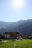 Holidays in the Alps. View to the Alps mountains in Austria Royalty Free Stock Photo
