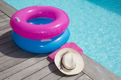For holidays around the pool, a hat and bikini Royalty Free Stock Photography