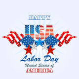 Holidays, background with blue, white and red stars and flags  for American Labor Day Stock Photos