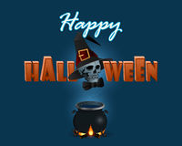 Holidays background with Halloween three dimensions text and witches cauldron. Happy Halloween, message; Holidays background, design with Halloween three Stock Photography