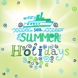 02 Holidays background. The illustration of beautiful summer background with letters. Vector image stock illustration