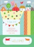 Holidays background for kids for birthday or  kindergarten poste Stock Images
