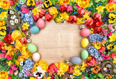 Holidays background with spring flowers and easter eggs. Tulips stock images