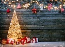 Free Holidays Background With Illuminated Christmas Tree, Gifts And Decoration Stock Image - 164333821