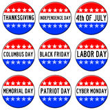 Holidays. Badges with most important holidays in the USA royalty free illustration