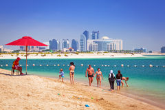 Holidays on the beach in Abu Dhabi Royalty Free Stock Image