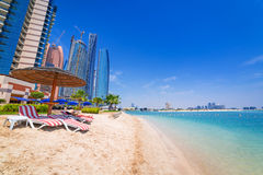 Holidays on the beach in Abu Dhabi, United Arab Emirates. Beach in Abu Dhabi, the capital of United Arab Emirates Royalty Free Stock Images
