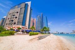 Holidays on the beach in Abu Dhabi, United Arab Emirates. Beach in Abu Dhabi, the capital of United Arab Emirates Stock Images