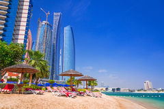 Holidays on the beach in Abu Dhabi, United Arab Emirates. Beach in Abu Dhabi, the capital of United Arab Emirates Stock Photography