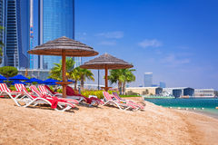 Holidays on the beach in Abu Dhabi, United Arab Emirates. Beach in Abu Dhabi, the capital of United Arab Emirates Royalty Free Stock Photography
